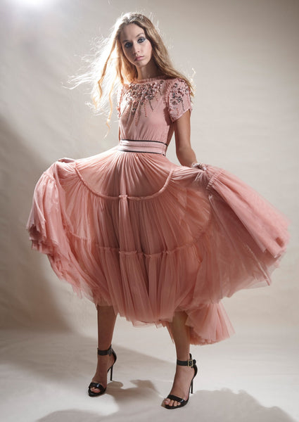 SYON HAND BEADED TULLE DRESS