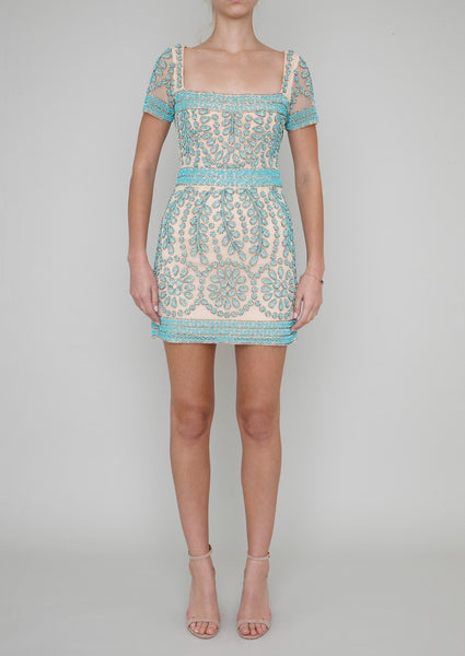 CHELSEA HAND BEADED MINI DRESS