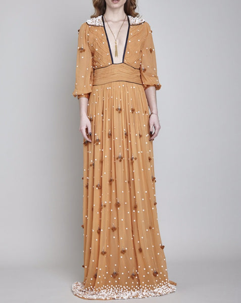 BLOOMSBURY HAND BEADED MAXI  DRESS