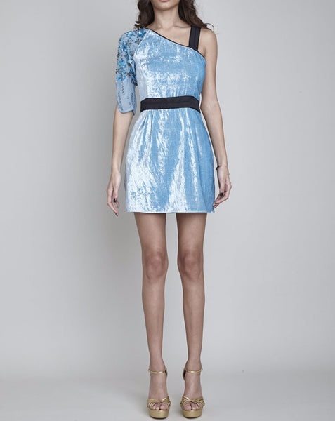 OSTERLEY HAND BEADED ASYMMETRIC MINI DRESS