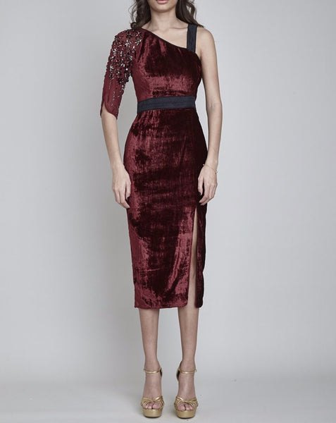 OSTERLEY ASYMMETRIC TAPERED MIDI DRESS