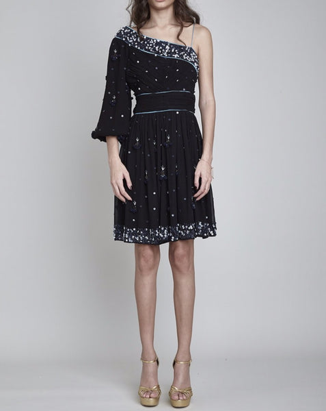 BLOOMSBURY HAND BEADED ASYMMETRIC DRESS