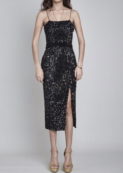 PORTOBELLO HAND BEADED & SEQUIN MIDI DRESS