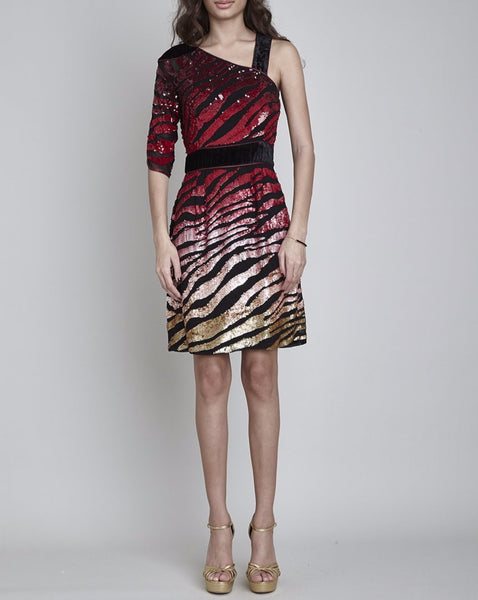 REGENTS HAND BEADED ASYMMETRIC DRESS