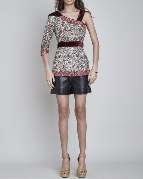 SHEERWATER HAND BEADED & SEQUIN ASYMMETRIC TOP