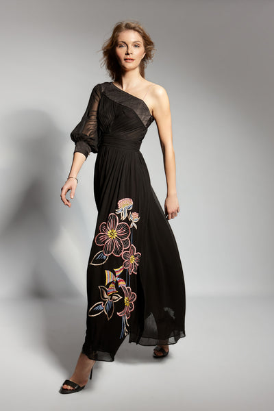 PORTOBELLO EMBROIDERED ASYMMETRIC MAXI DRESS