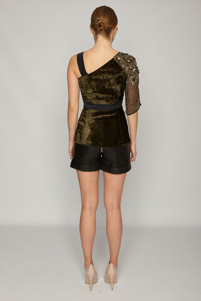 OSTERLEY HAND BEADED ASYMMETRIC TOP