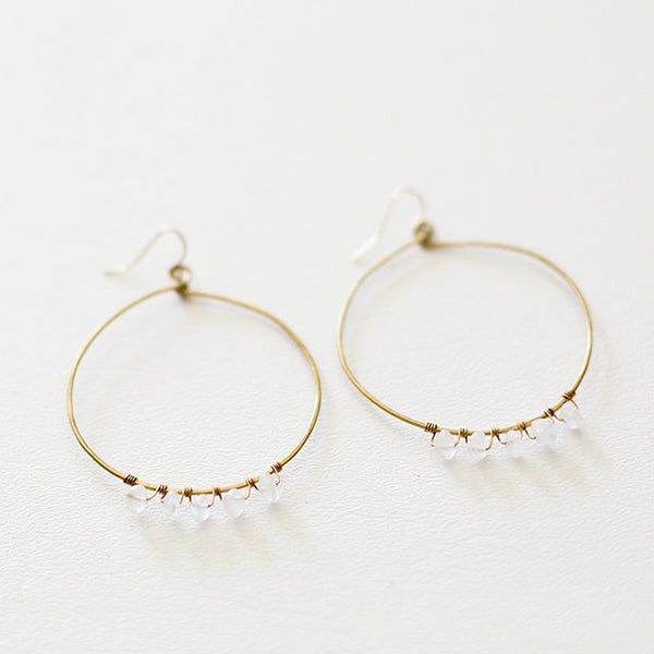 Moon Shine White Earrings