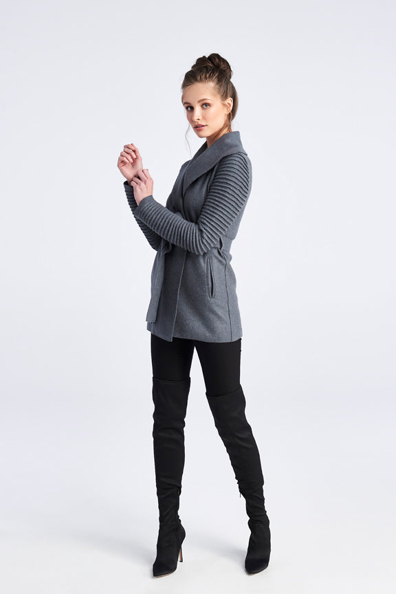 Ribbed Sleeves Wrap Coat Charcoal