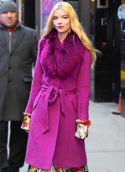 Anya Taylor-Joy is spotted in the Long Coat with Fur Collar in Mullberry