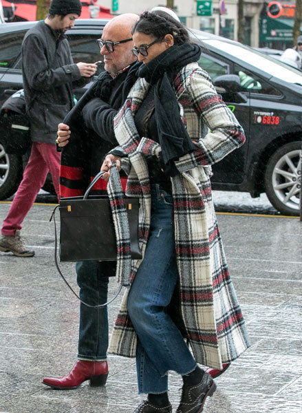 Demi Moore in the Plaid Notched Collar Wrap Coat