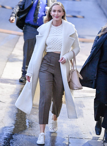 Emily Blunt in the Bouclé Notched Collar Wrap Coat in Ivory