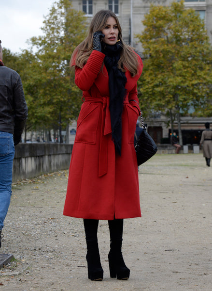 Sofía Vergara in the Long Wide Collar Wrap Coat in