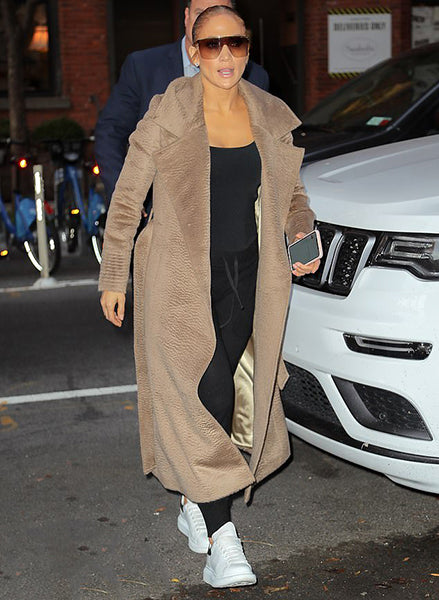Jennifer Lopez wears the Notched Collar Wrap Coat in