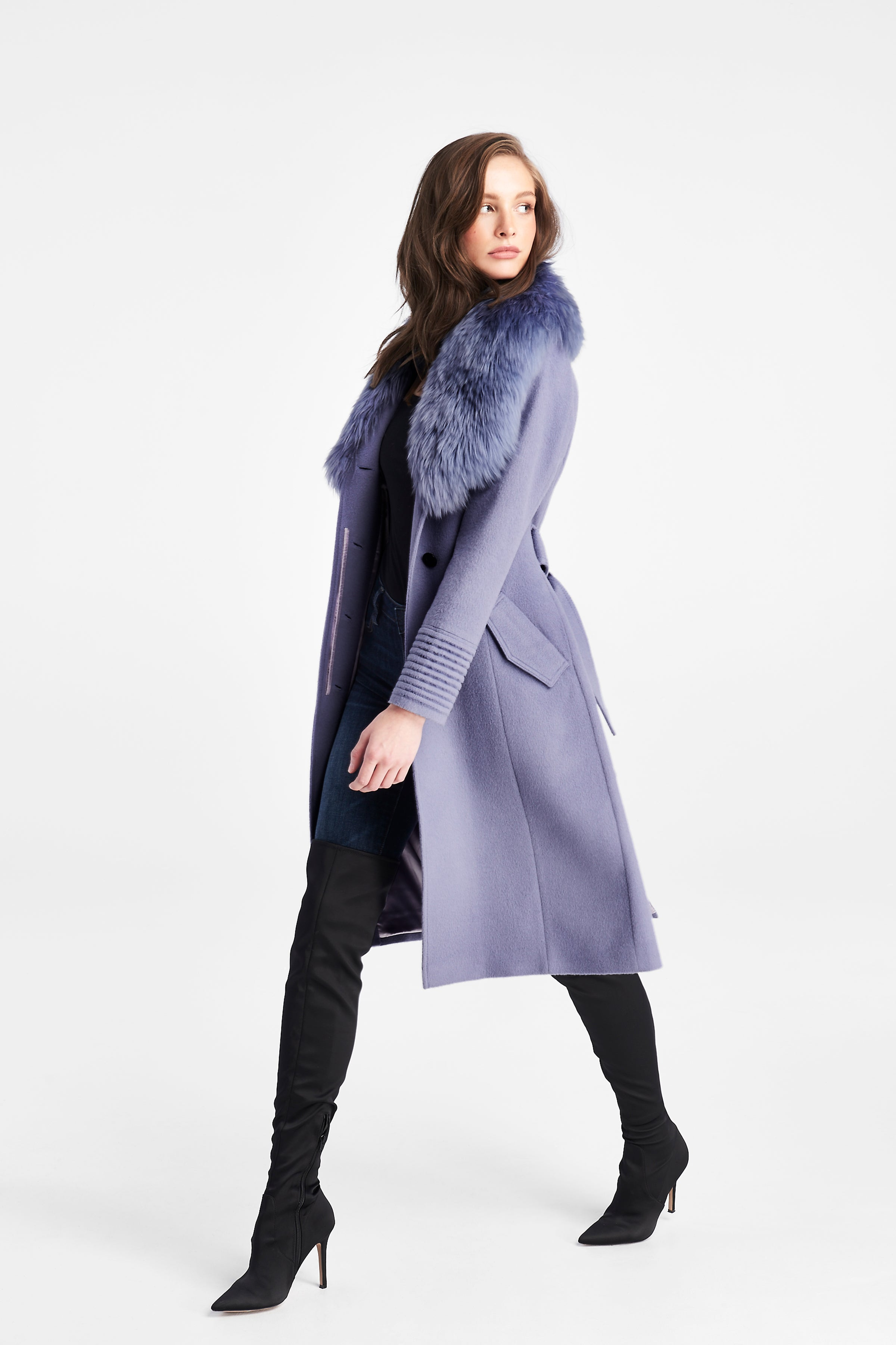 Long Coat with Fur Collar Lilac