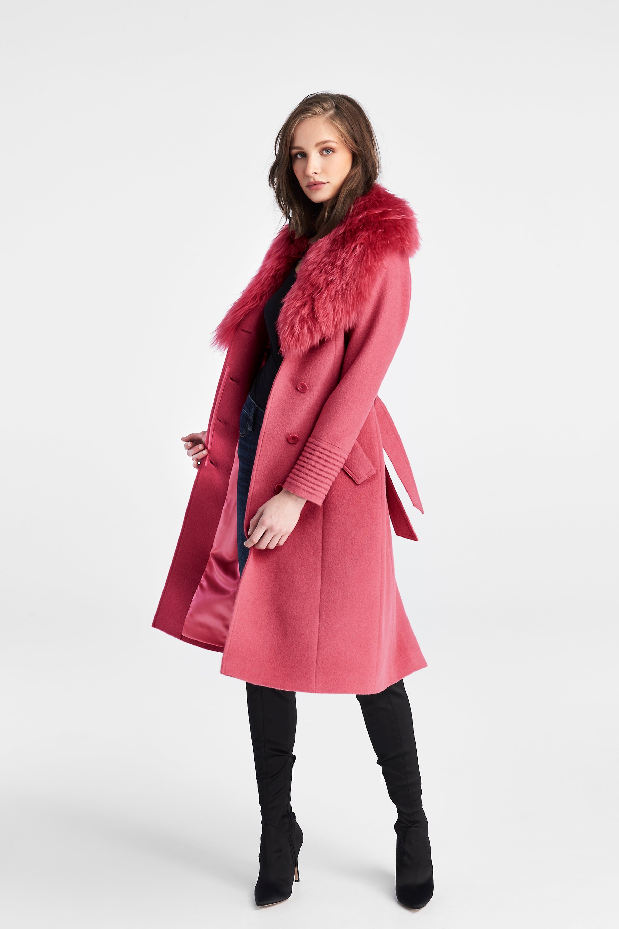 Long Coat with Fur Collar Tourmaline Pink