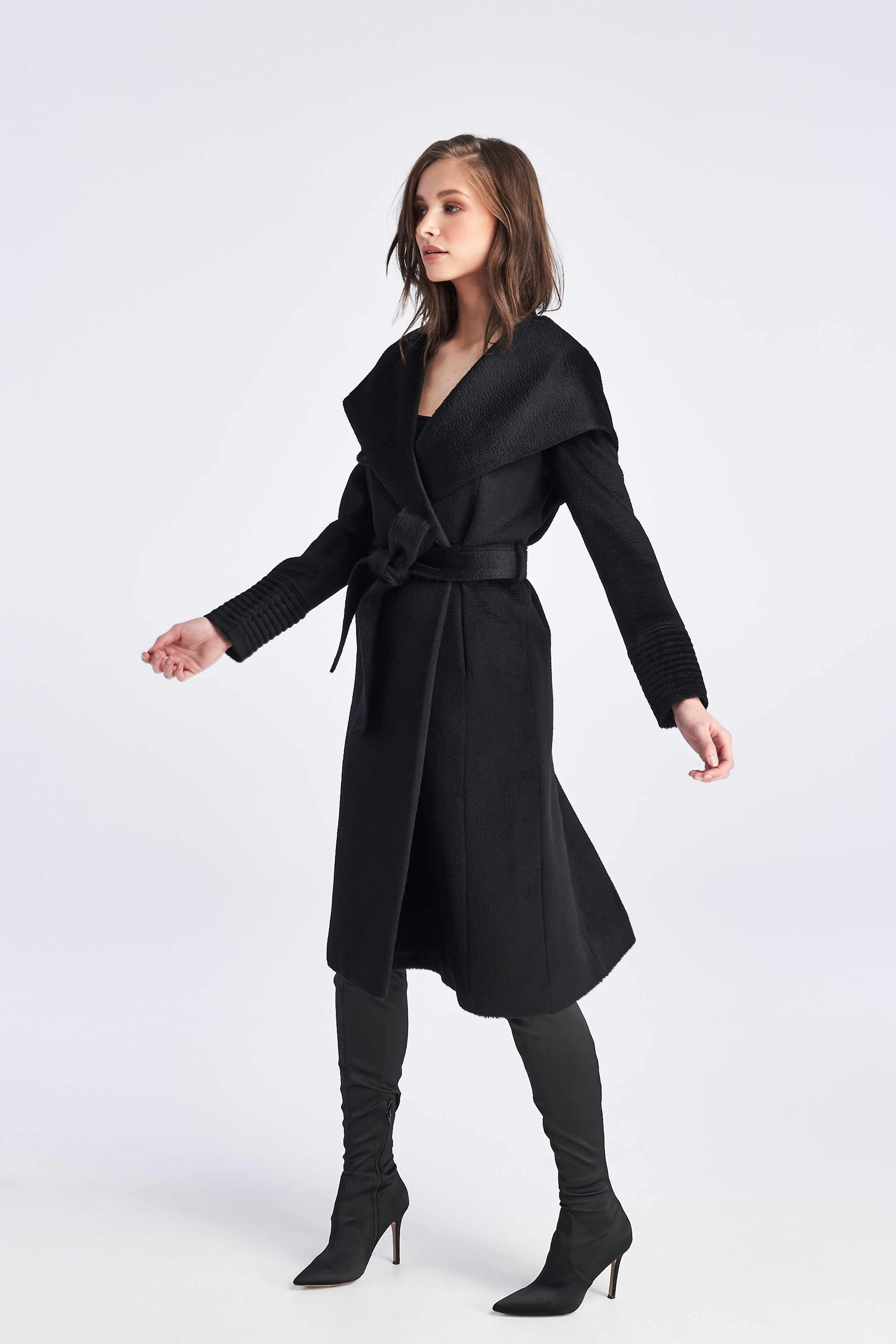 Long Hooded Coat Black