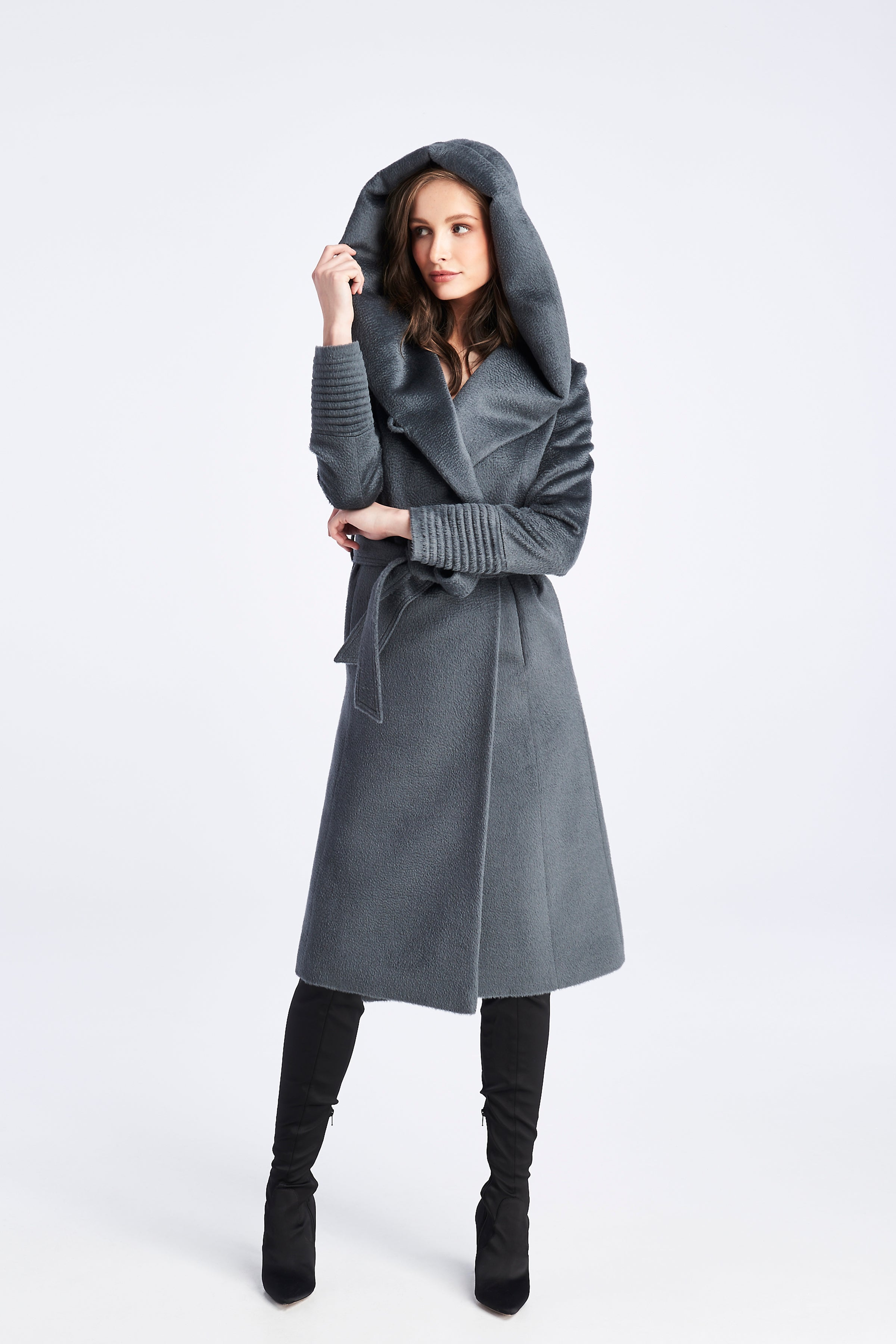 Long Hooded Coat Charcoal