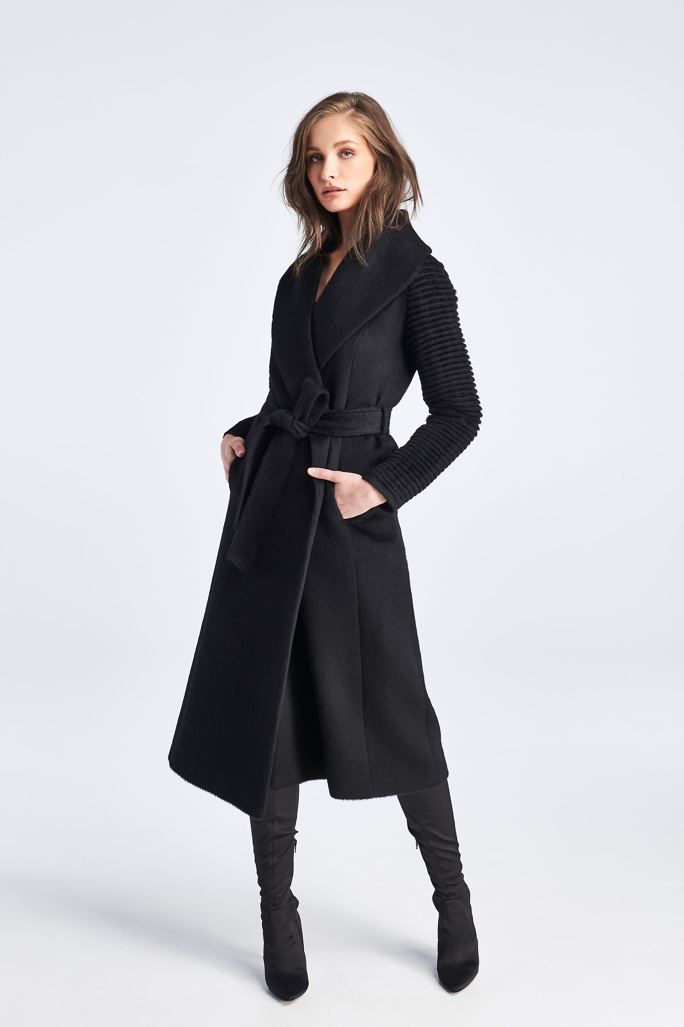 Ribbed Sleeves Long Coat Black