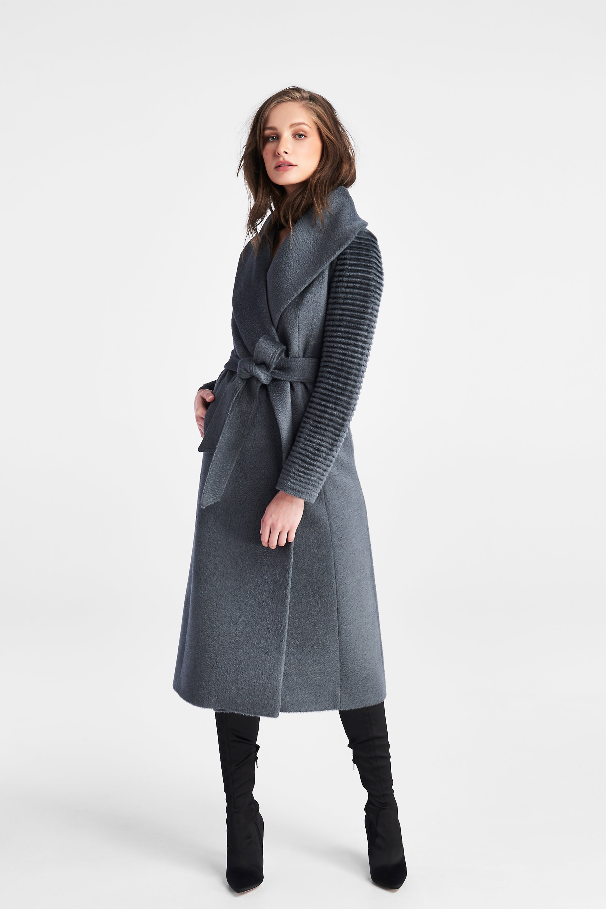 Ribbed Sleeves Long Coat Charcoal