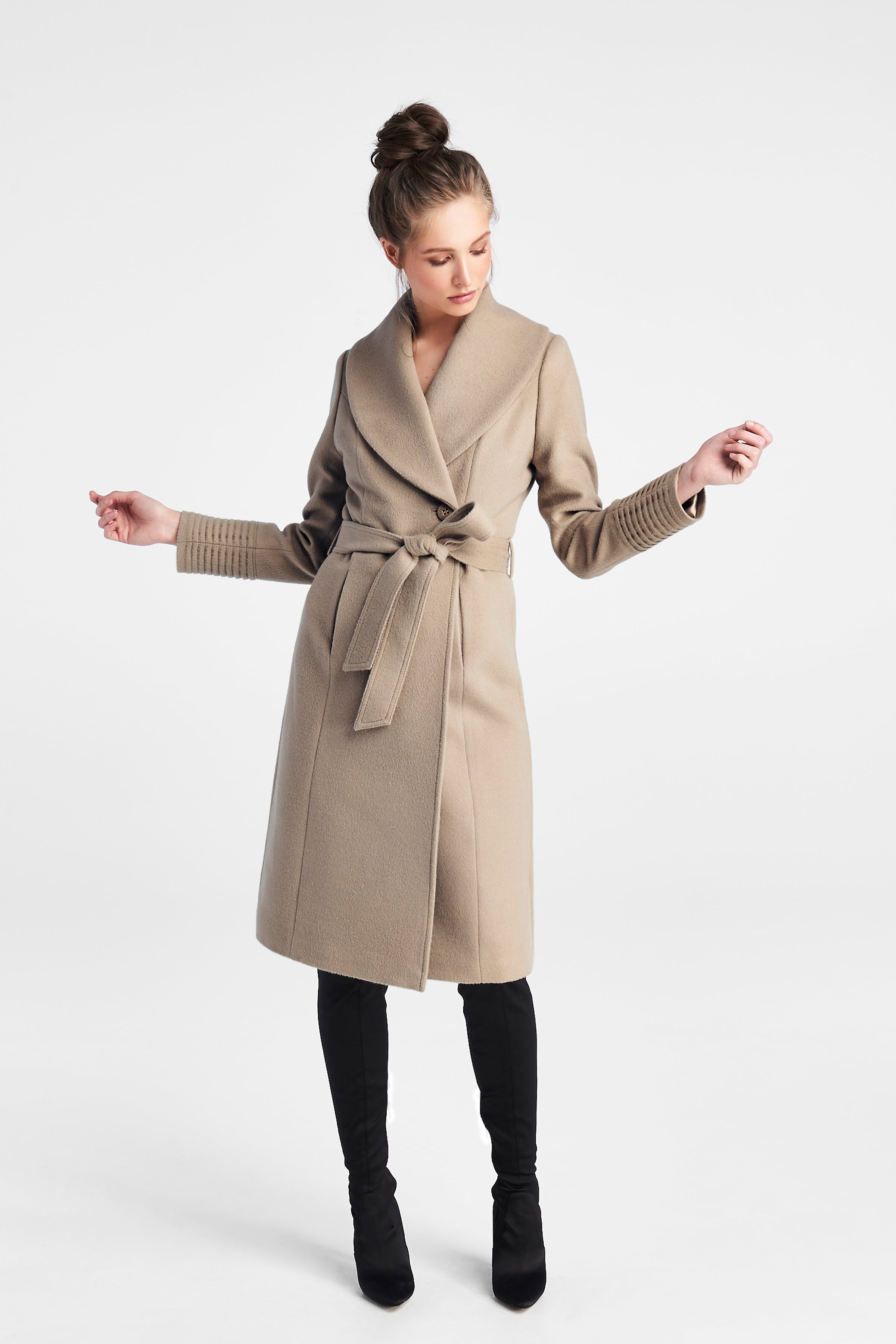 Long Shawl Collar Coat Camel