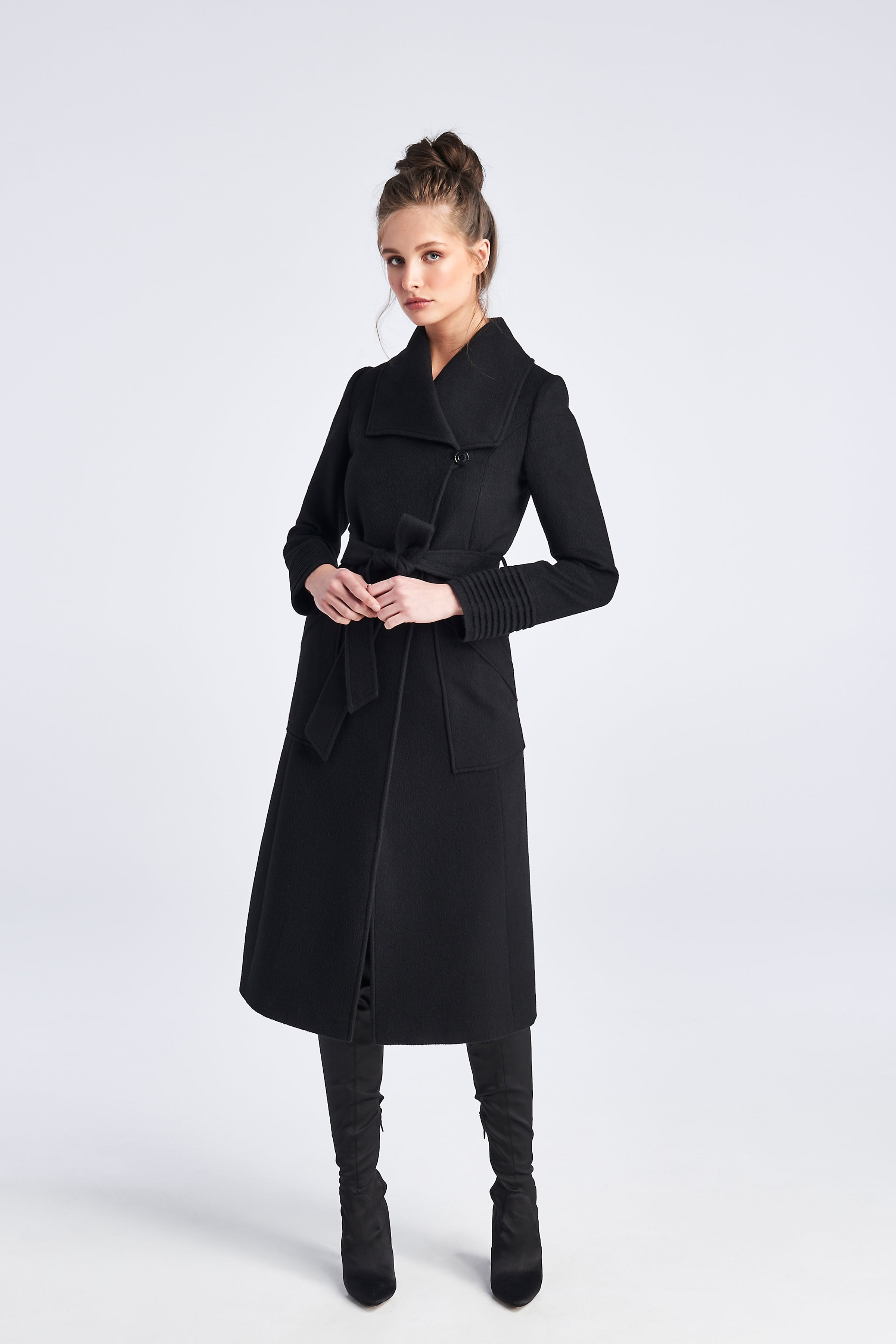 Long Wide Collar Coat Black