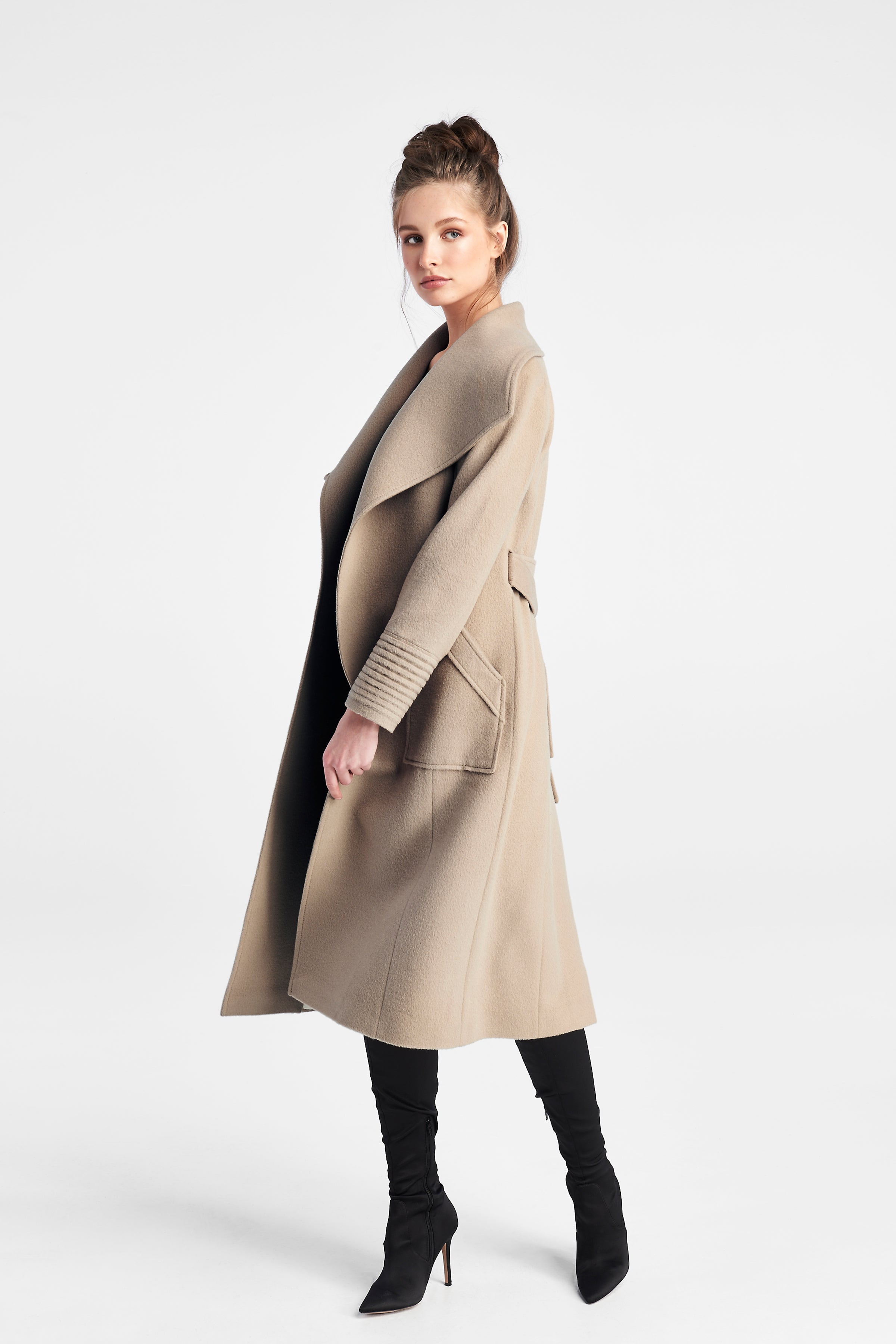 Long Wide Collar Coat Camel
