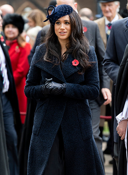 Duchess of Sussex, Meghan Markle wears the Bouclé Alpaca Long Wide Collar Wrap Coat in Midnight Blue