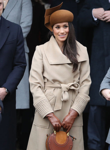 Duchess of Sussex, Meghan Markle in the Long Wide Collar Wrap Coat in Camel
