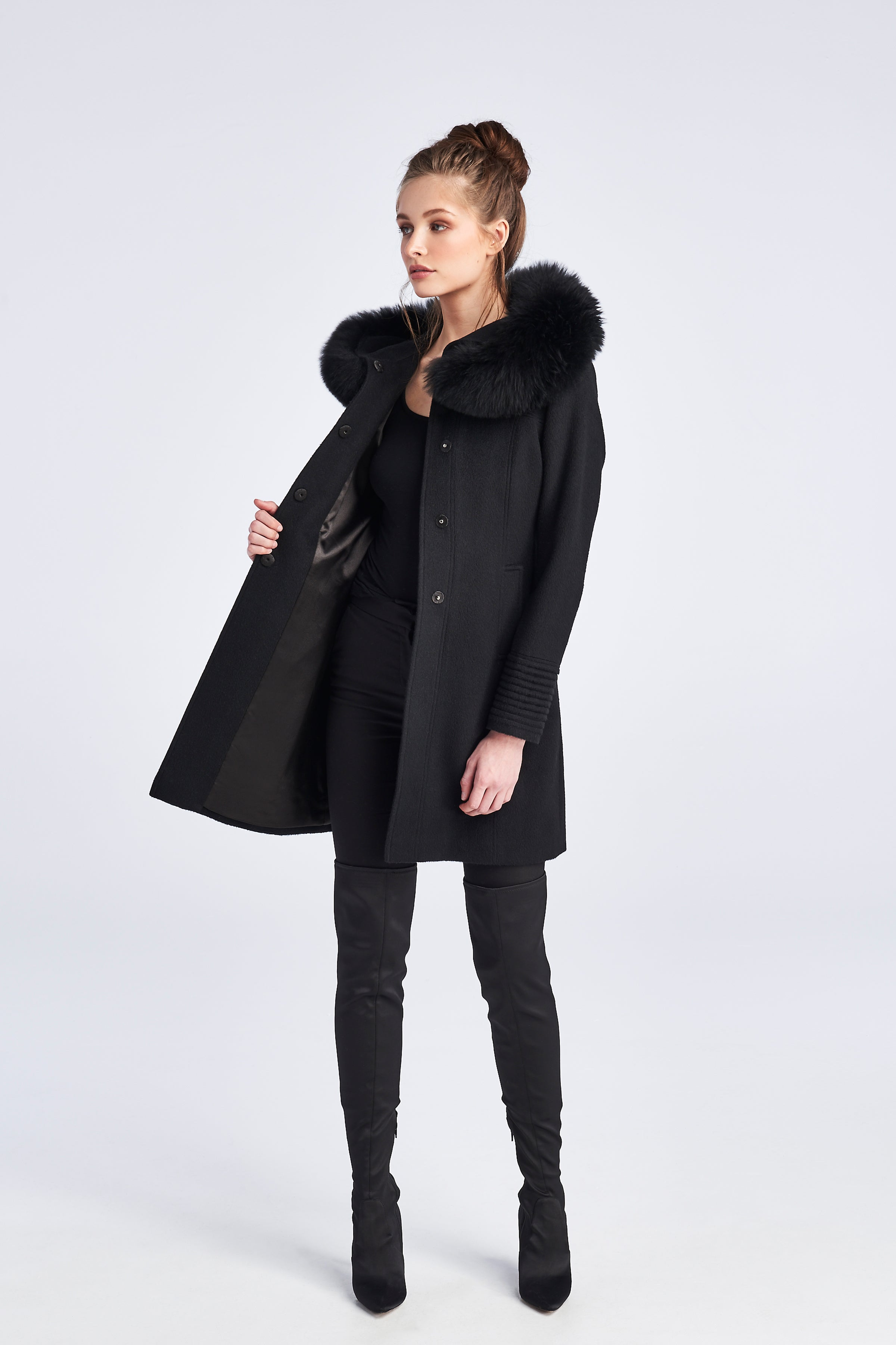 Mid Length Coat with Fur Hood Black
