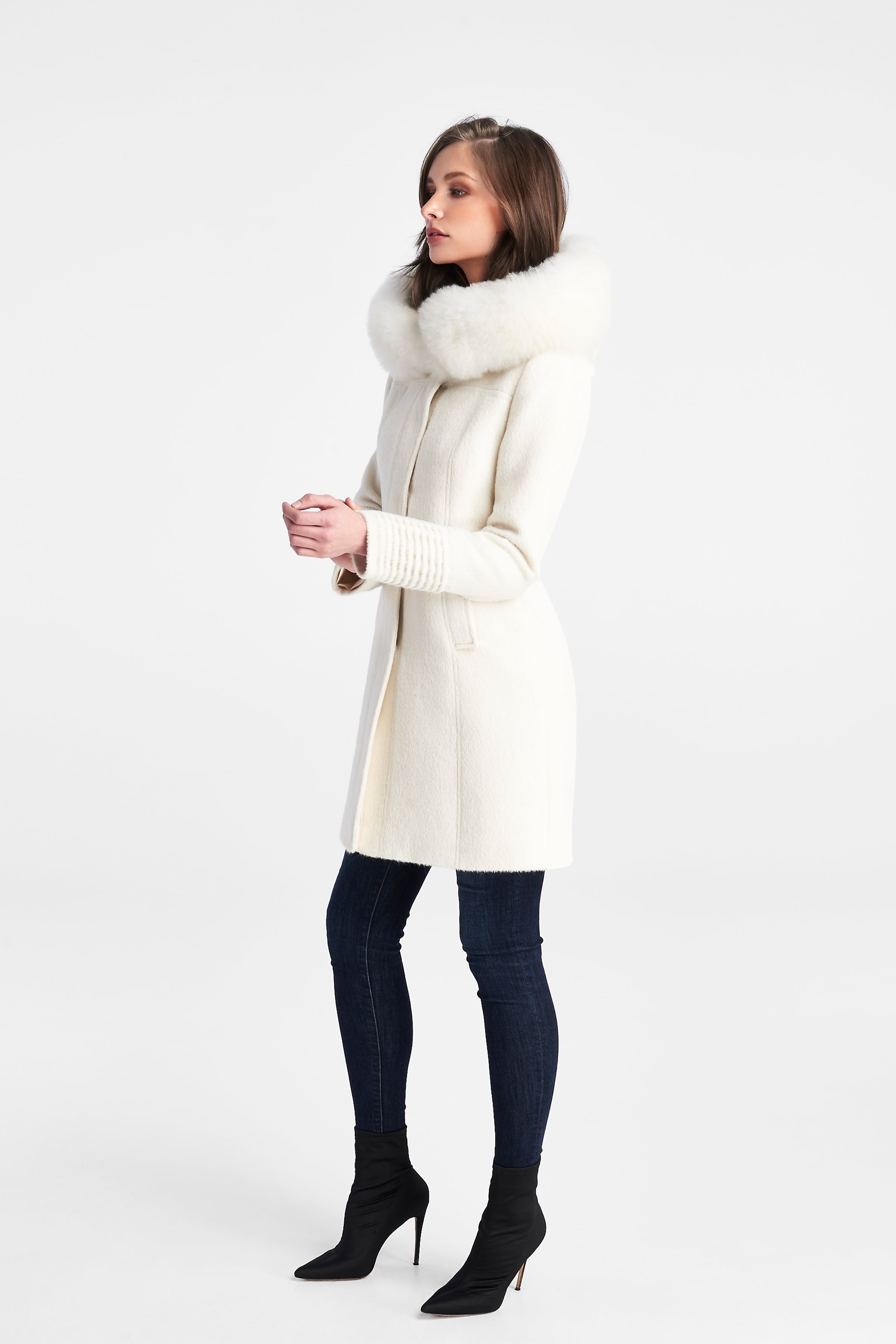 Mid Length Coat with Fur Hood Ivory