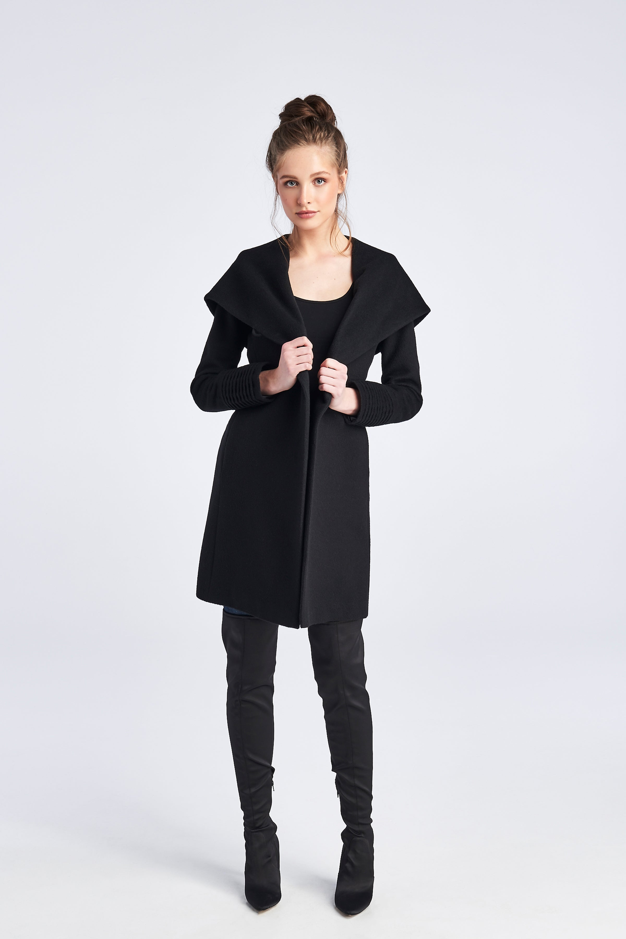 Mid Length Hooded Coat Black