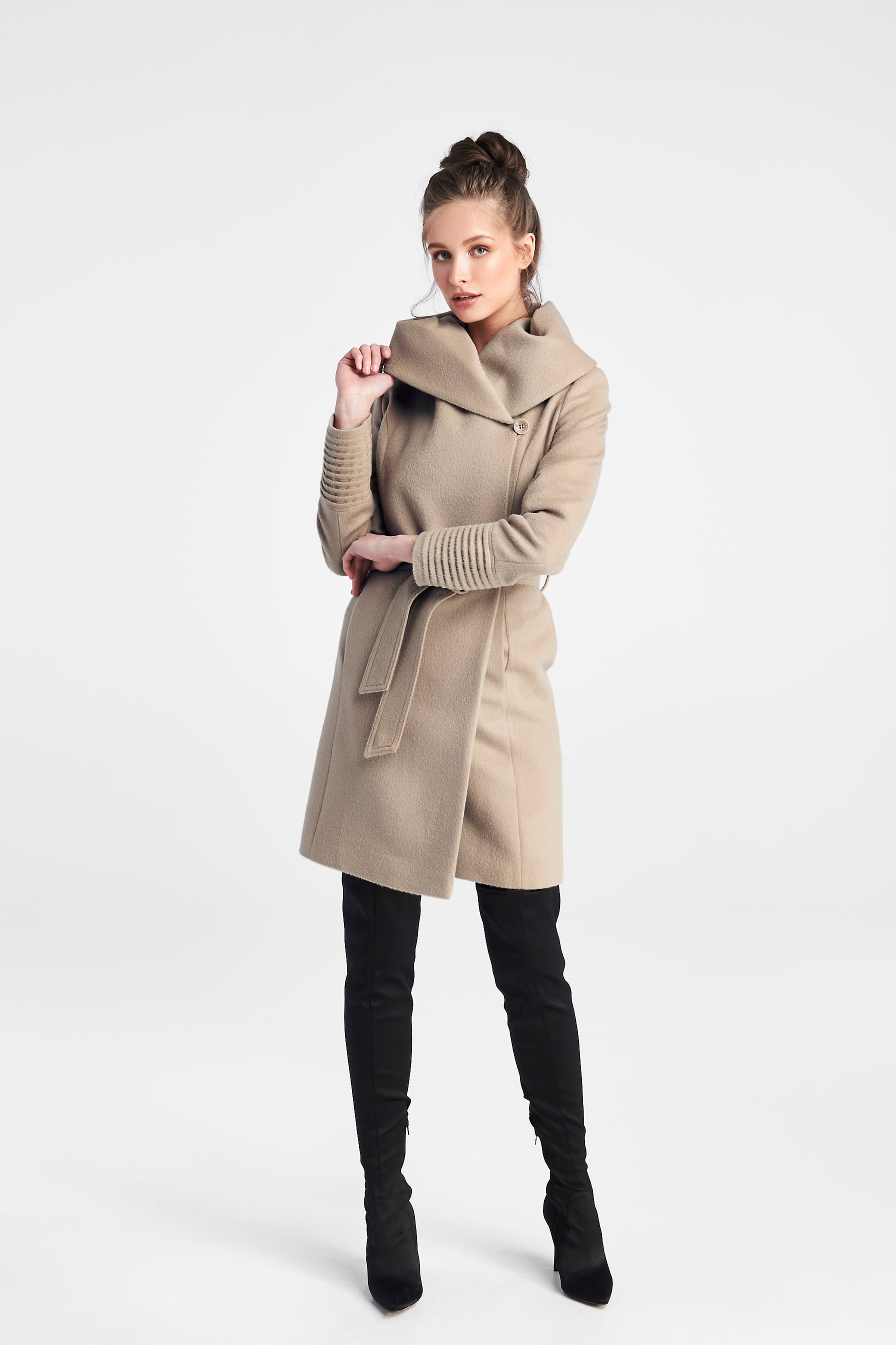 Mid Length Hooded Coat Camel