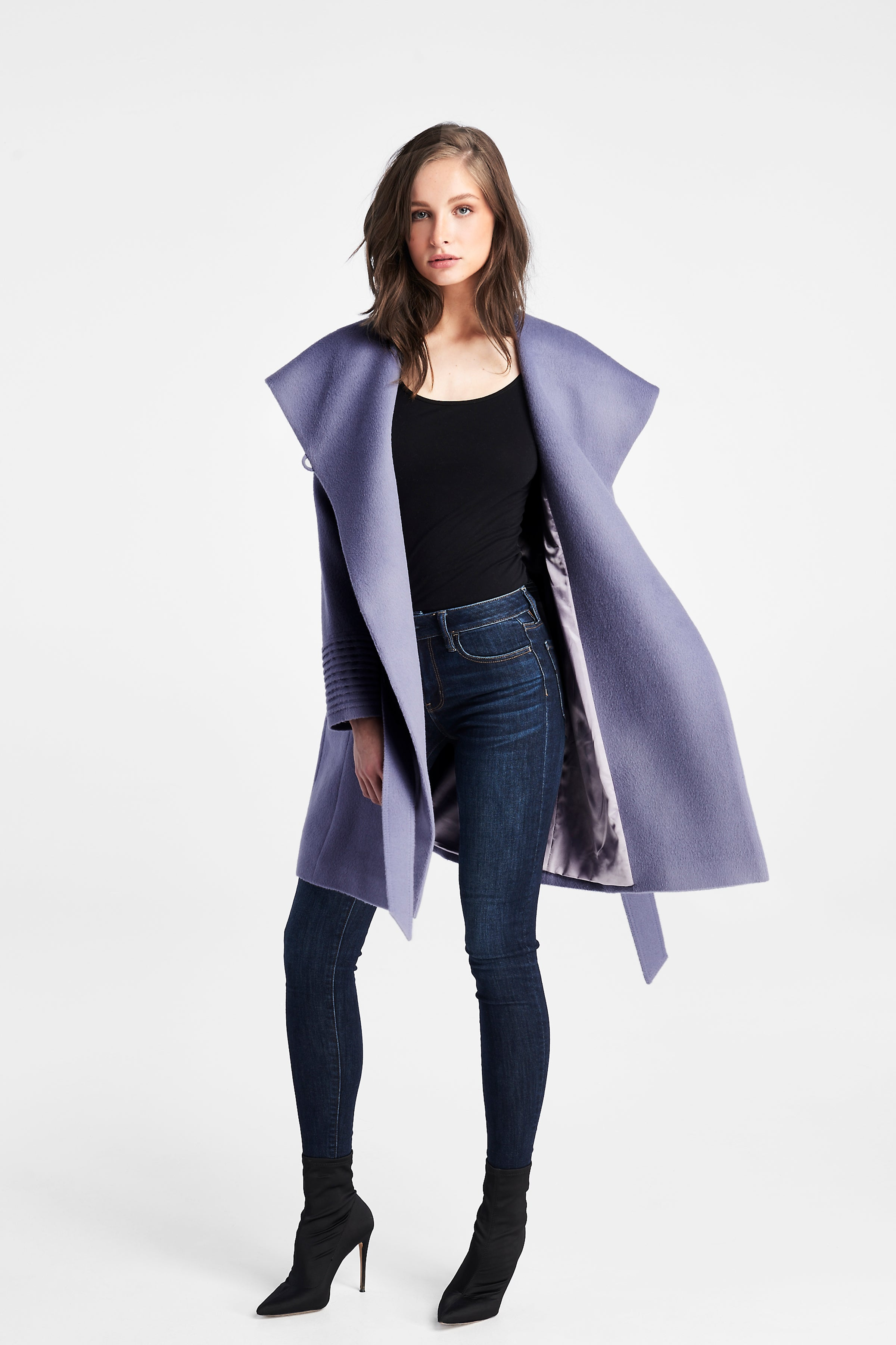 Mid Length Hooded Coat Lilac