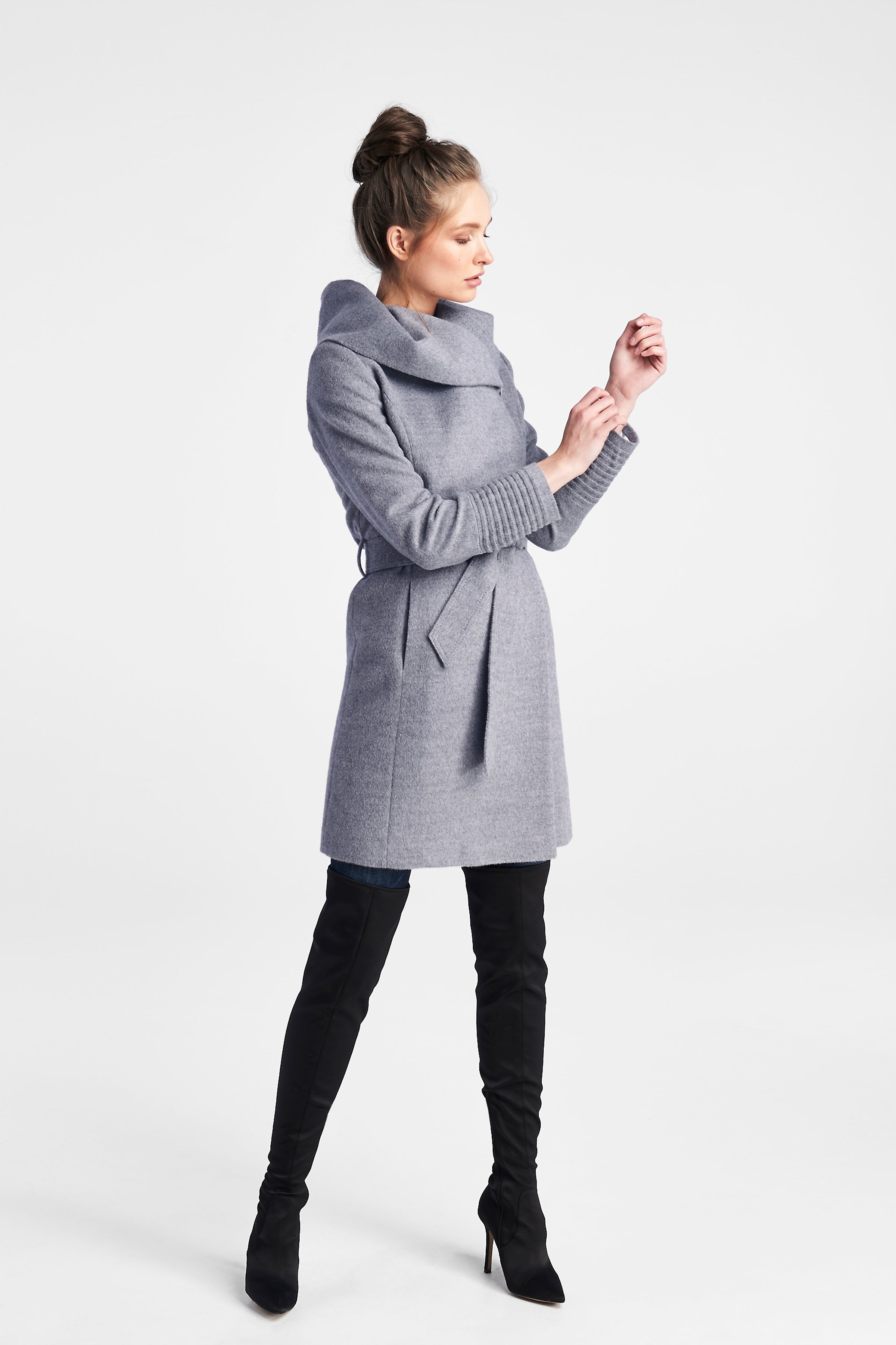 Mid Length Hooded Coat Shale Grey