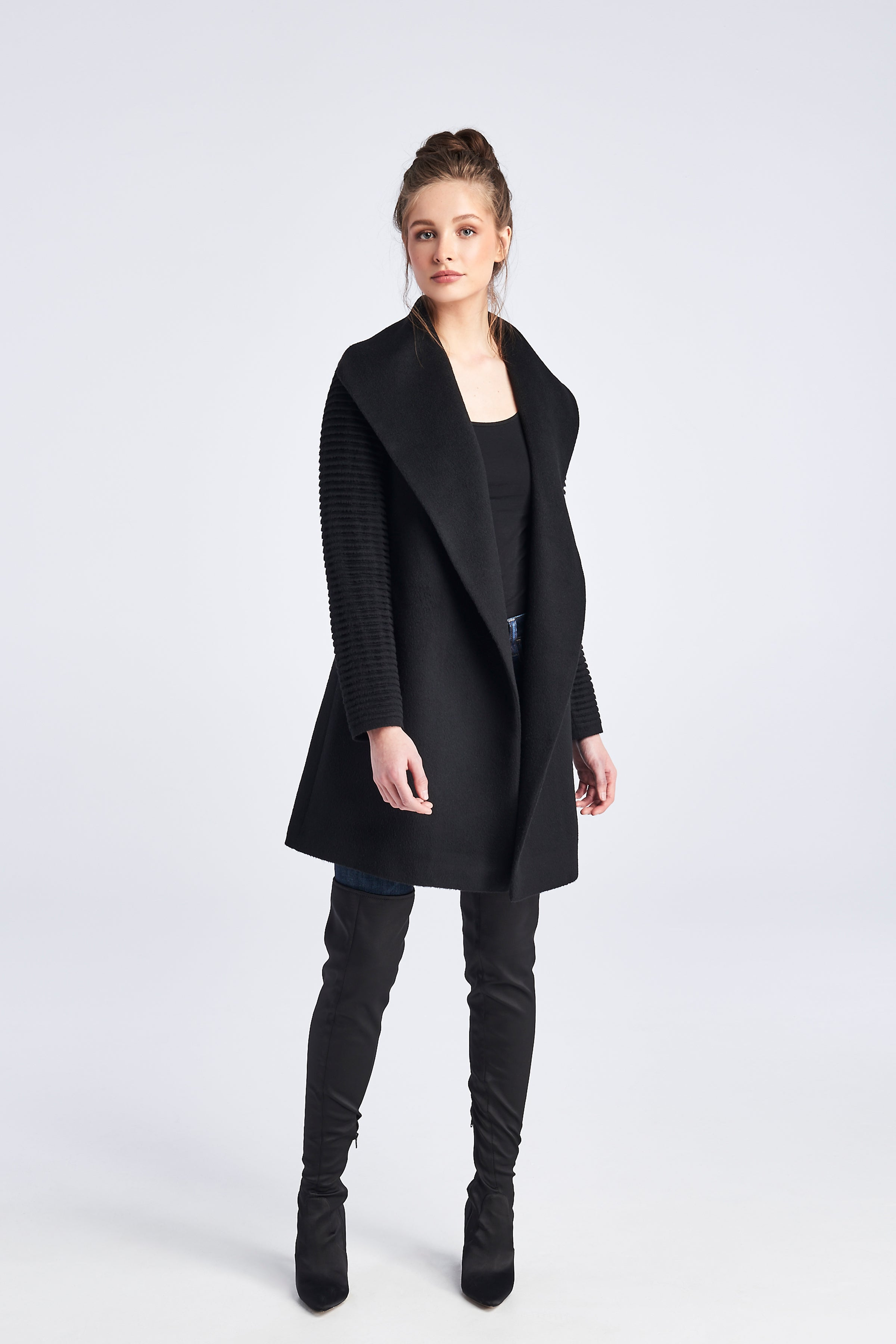 Ribbed Sleeves Mid Length Shawl Collar Coat Black
