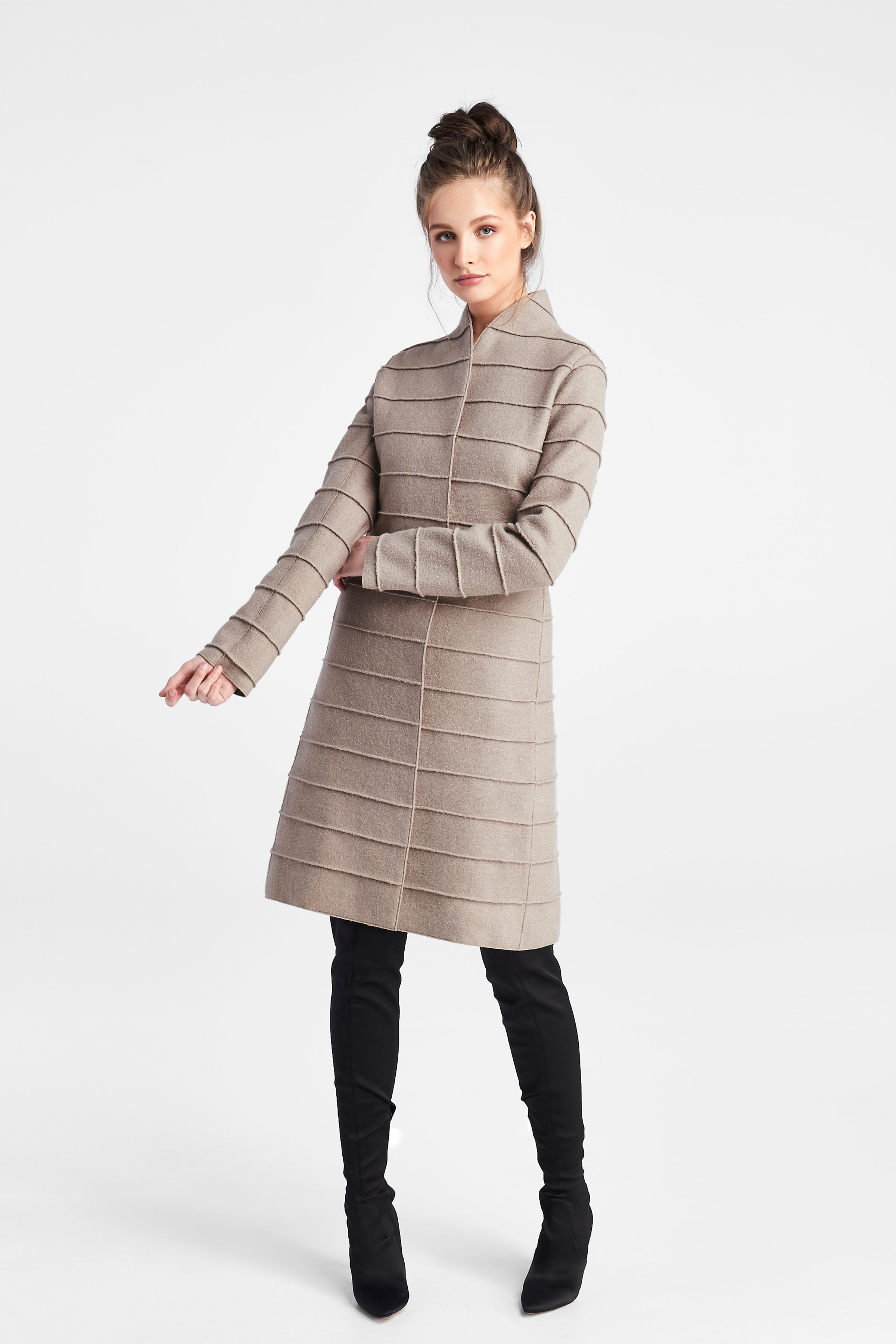 Mid Length Ribbed Coat Simply Taupe