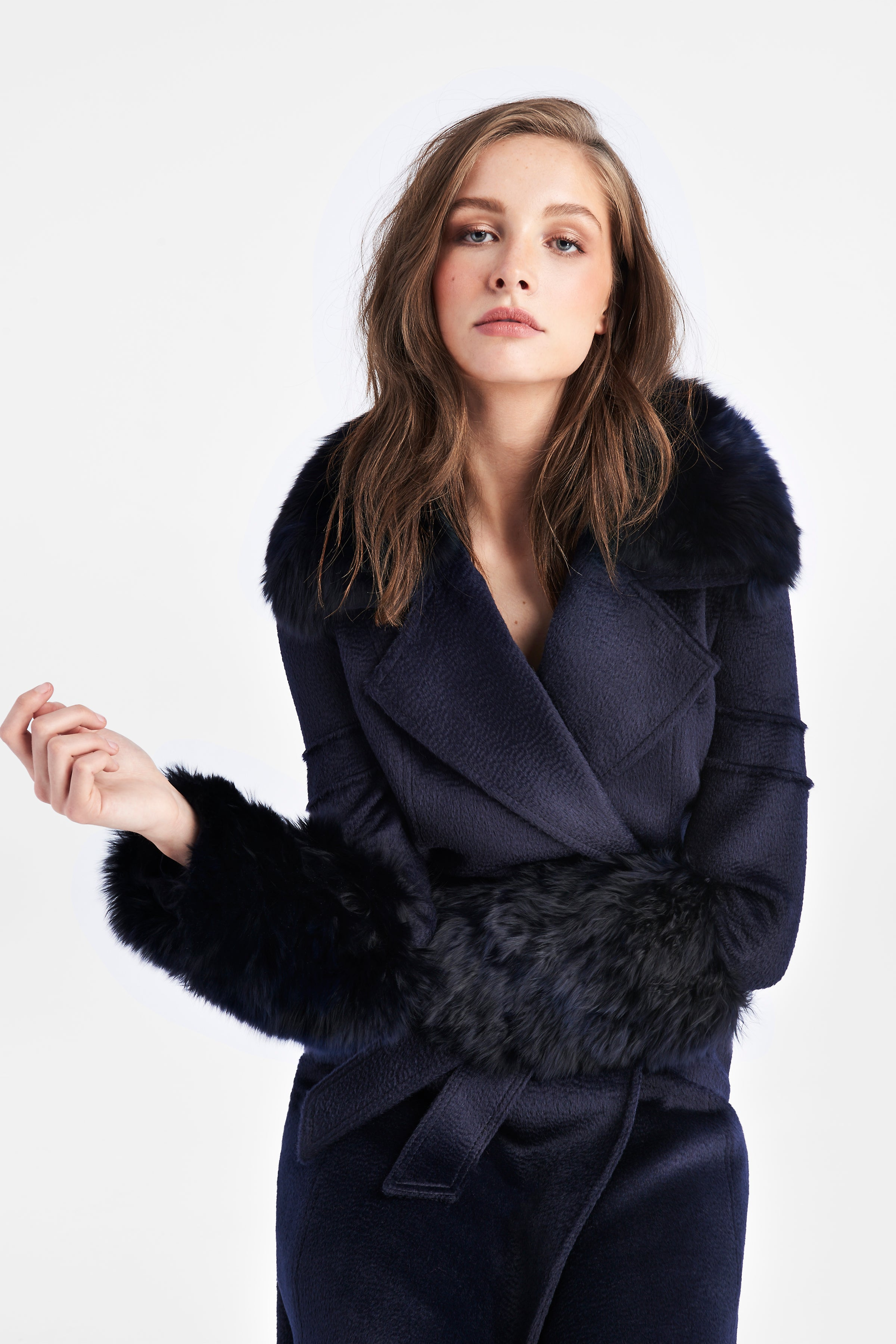 Notched Collar Coat with Fur Collar and Cuffs Navy