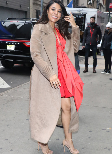 Regina Hall wears the Notched Collar Wrap Coat in Hazelnut