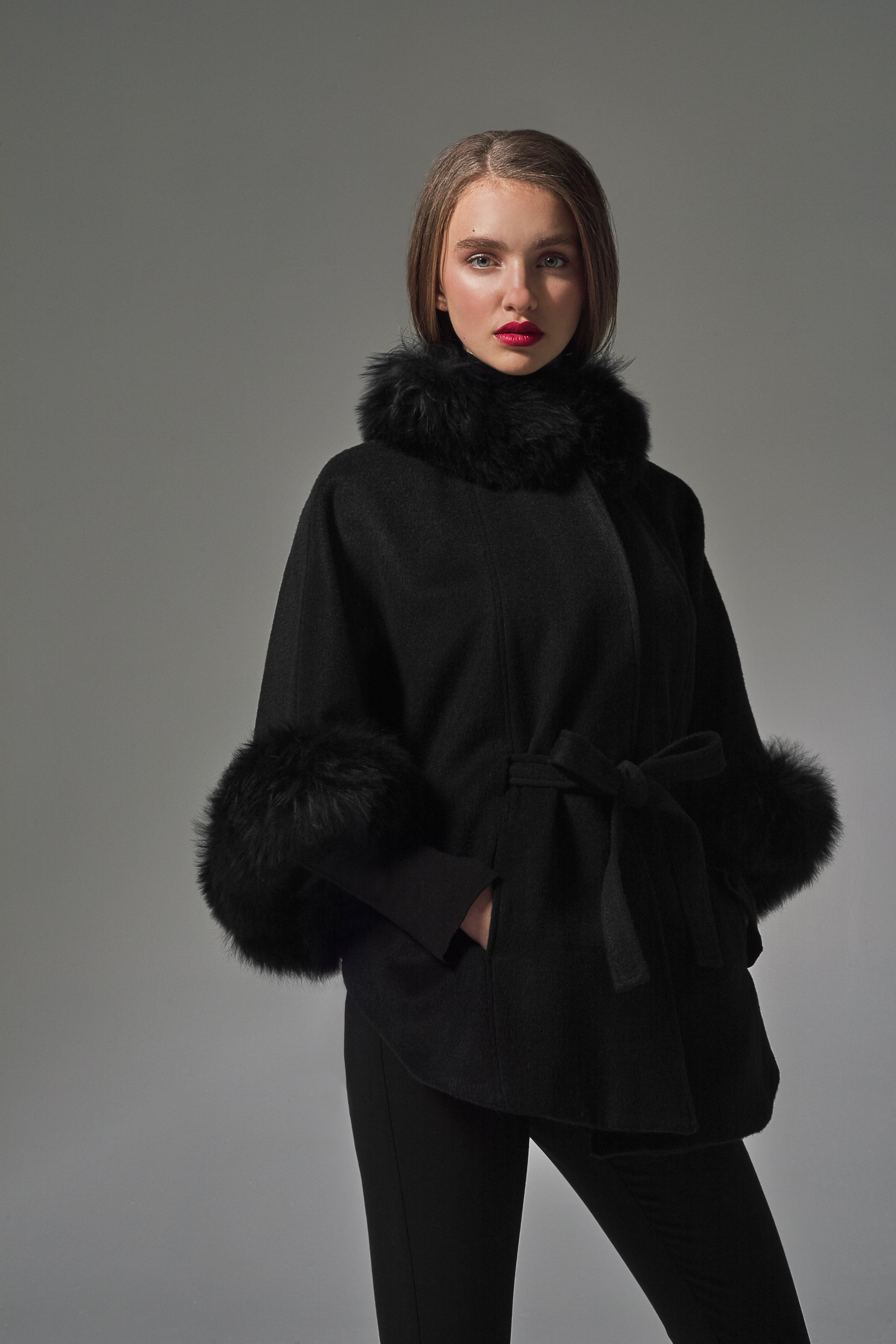 Cape with Fur Collar and Cuffs Black