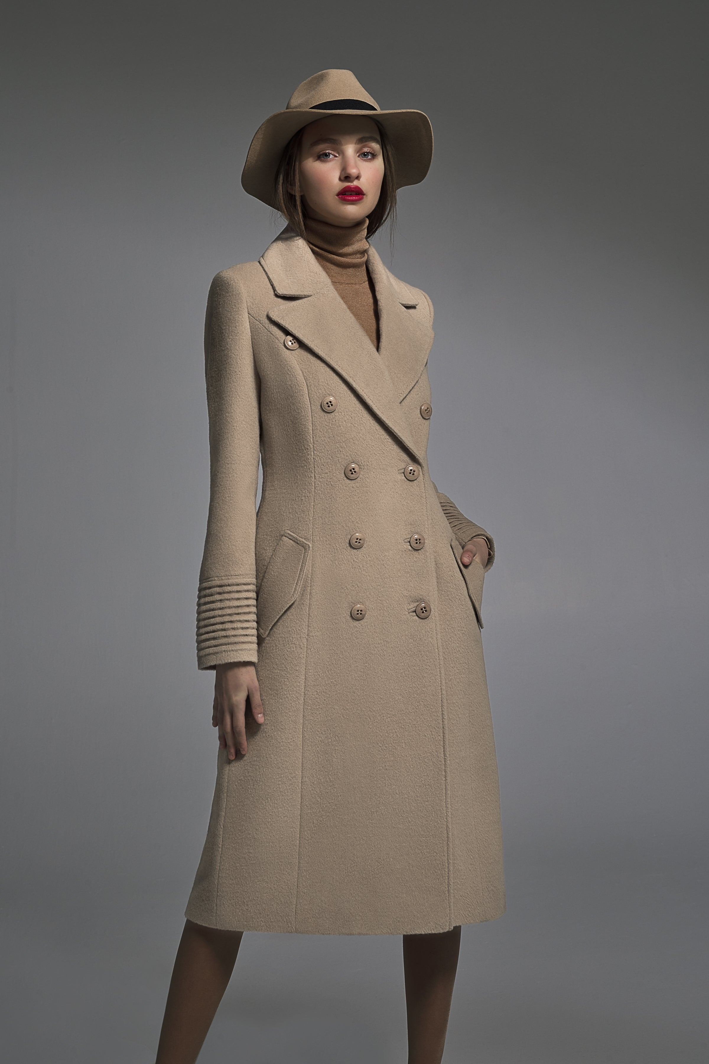 Double Breasted Notched Collar Coat Camel