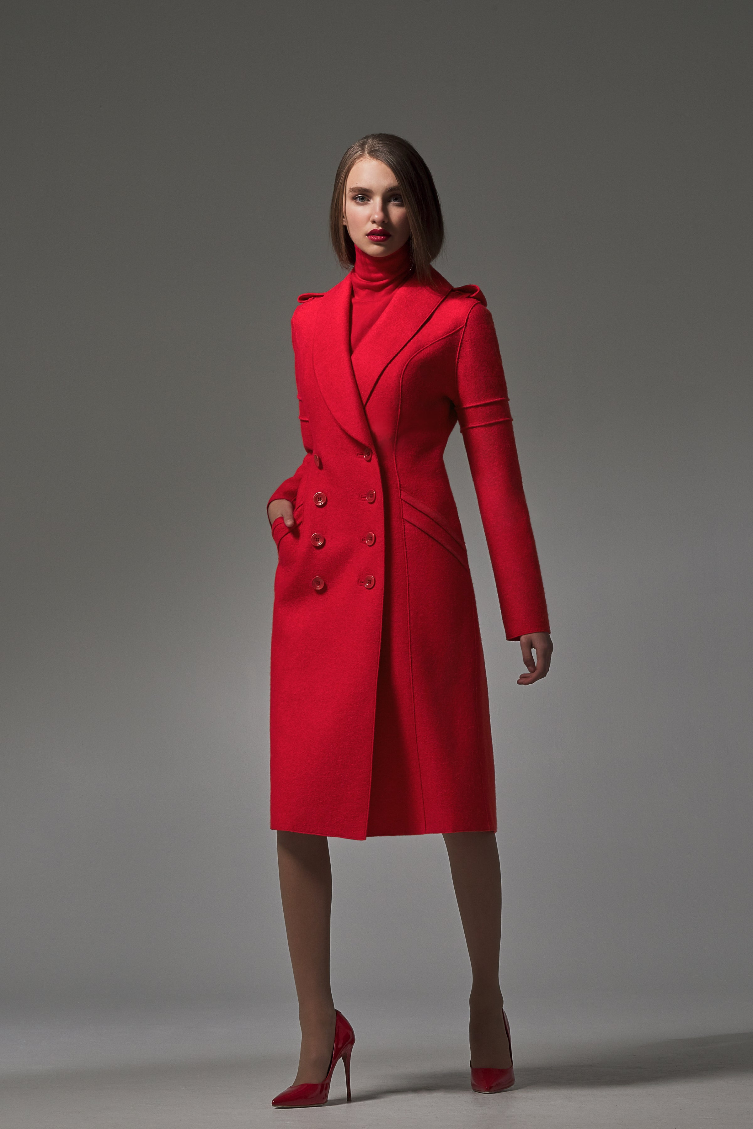 Double Breasted Fitted Coat Red