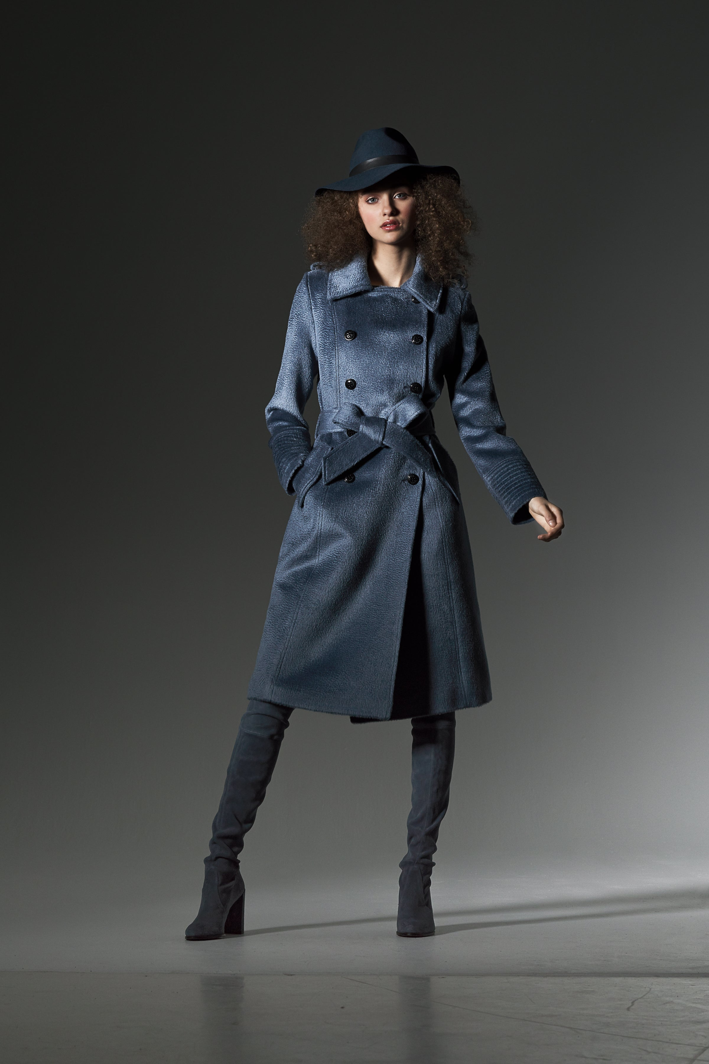 Double Breasted Trench Coat Steel Blue
