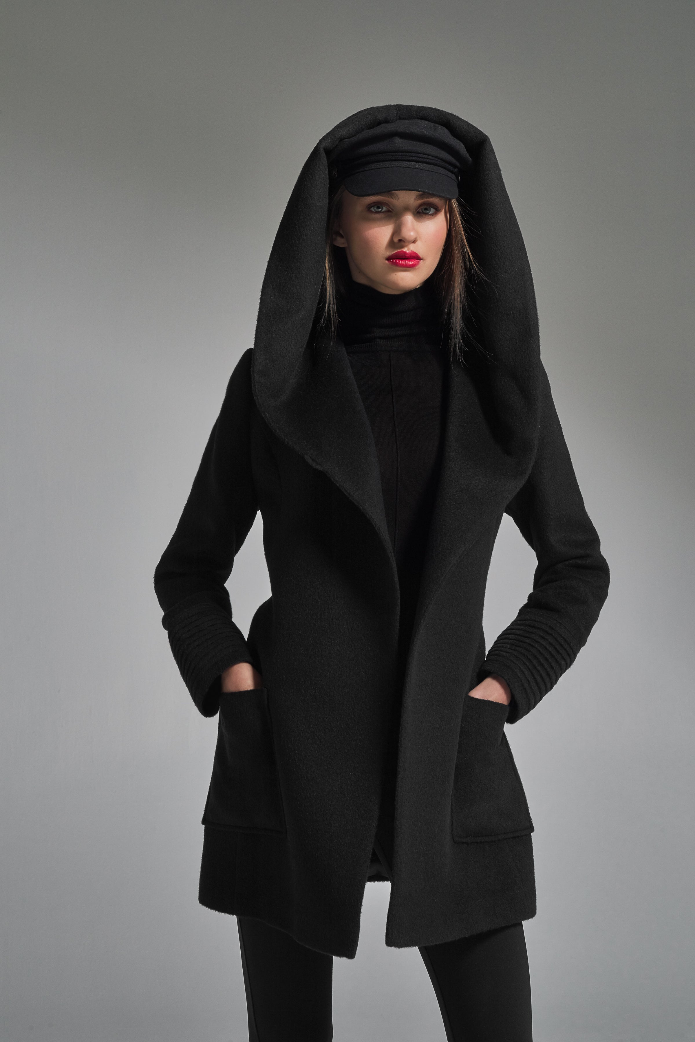 Hooded Wrap Coat with Square Pockets Black