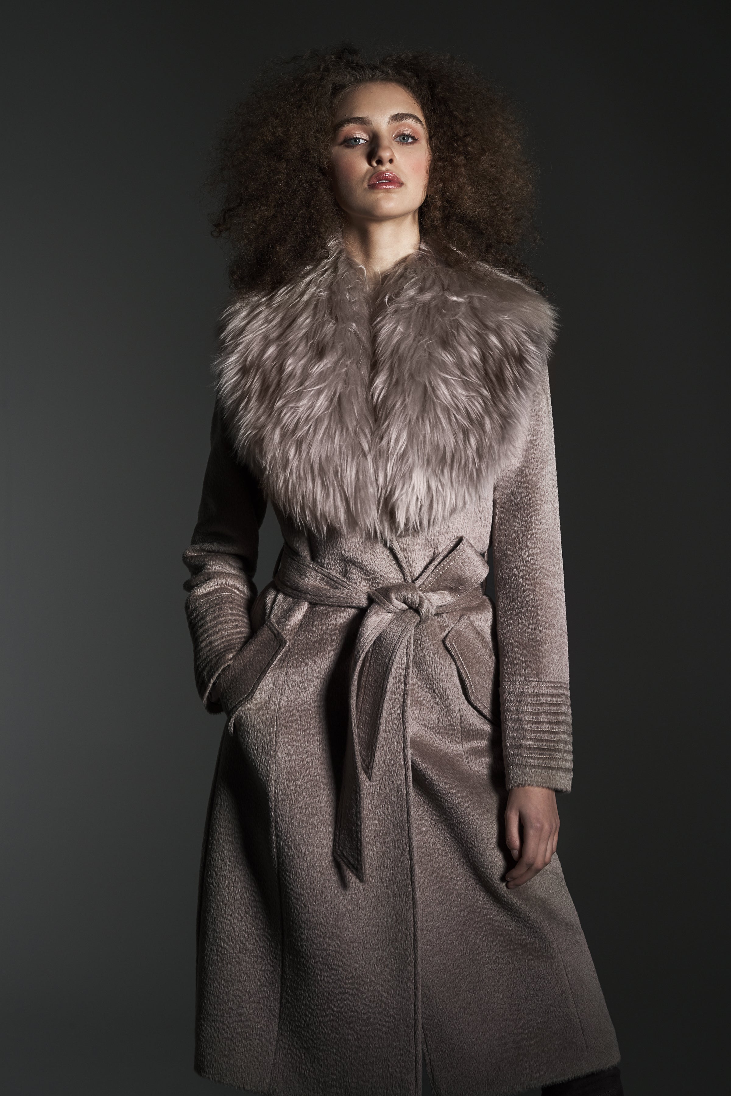 Long Coat with Fur Collar Light Taupe