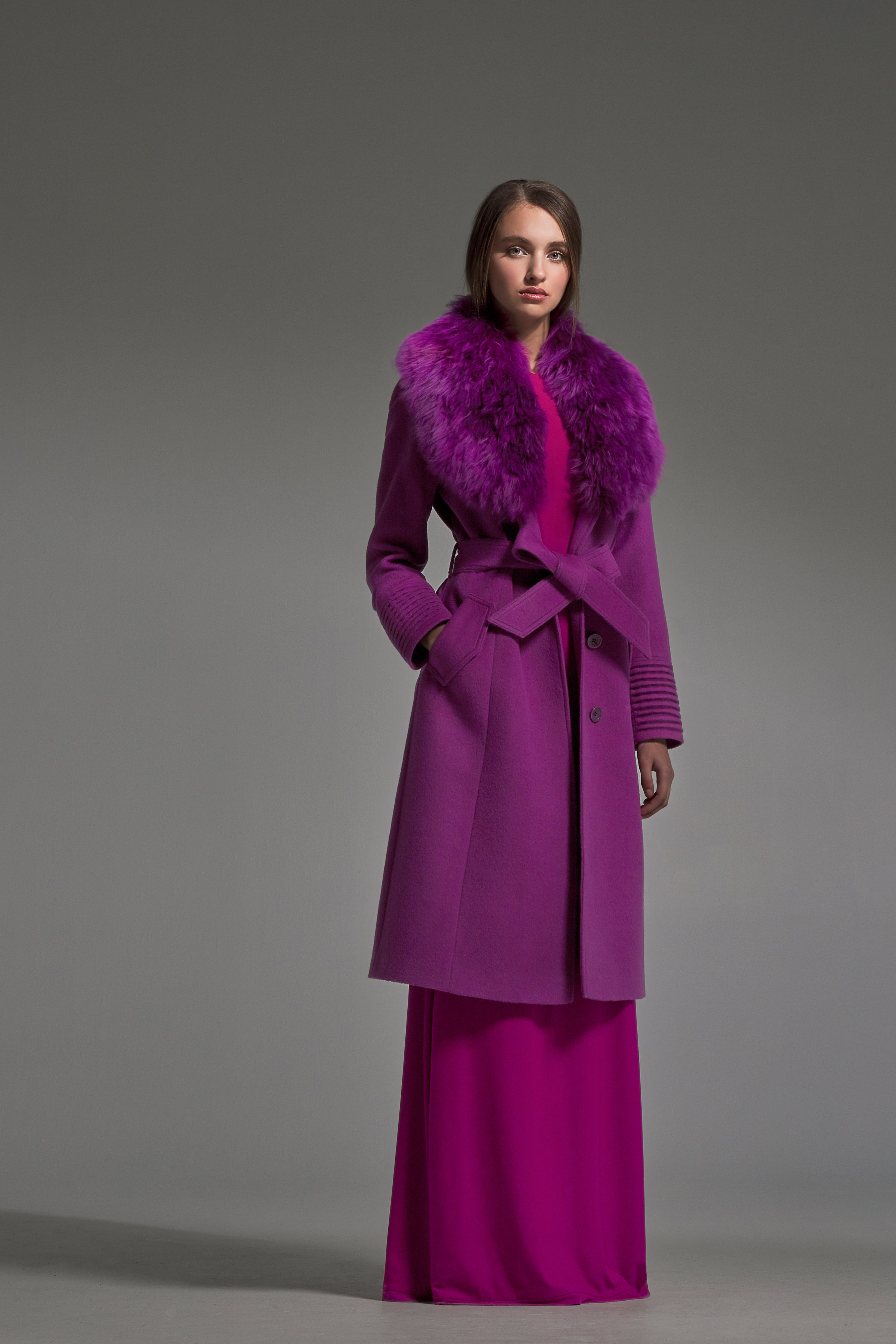 Long Coat with Fur Collar Mulberry