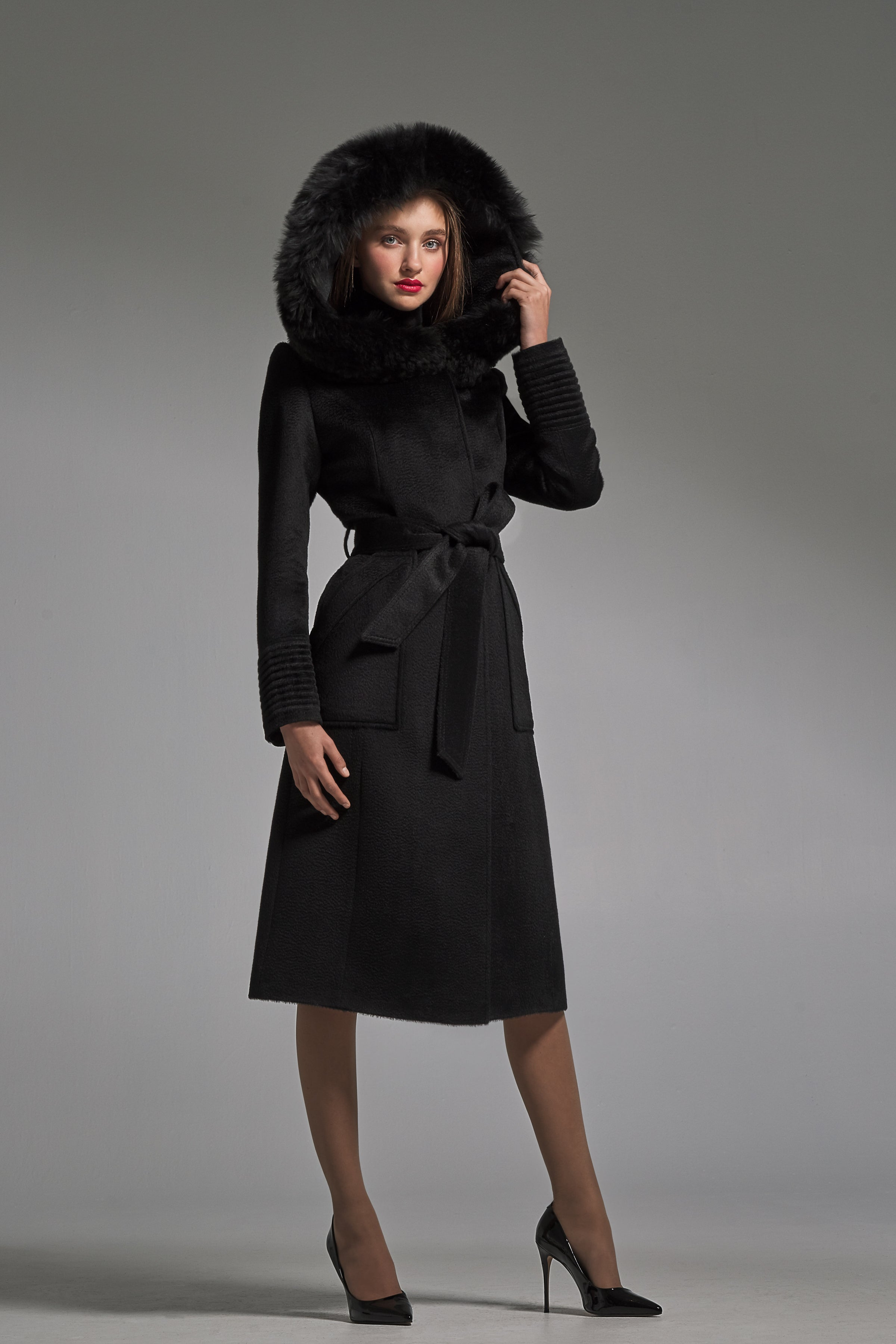 Long Coat with Fur Hood and Square Pockets Black