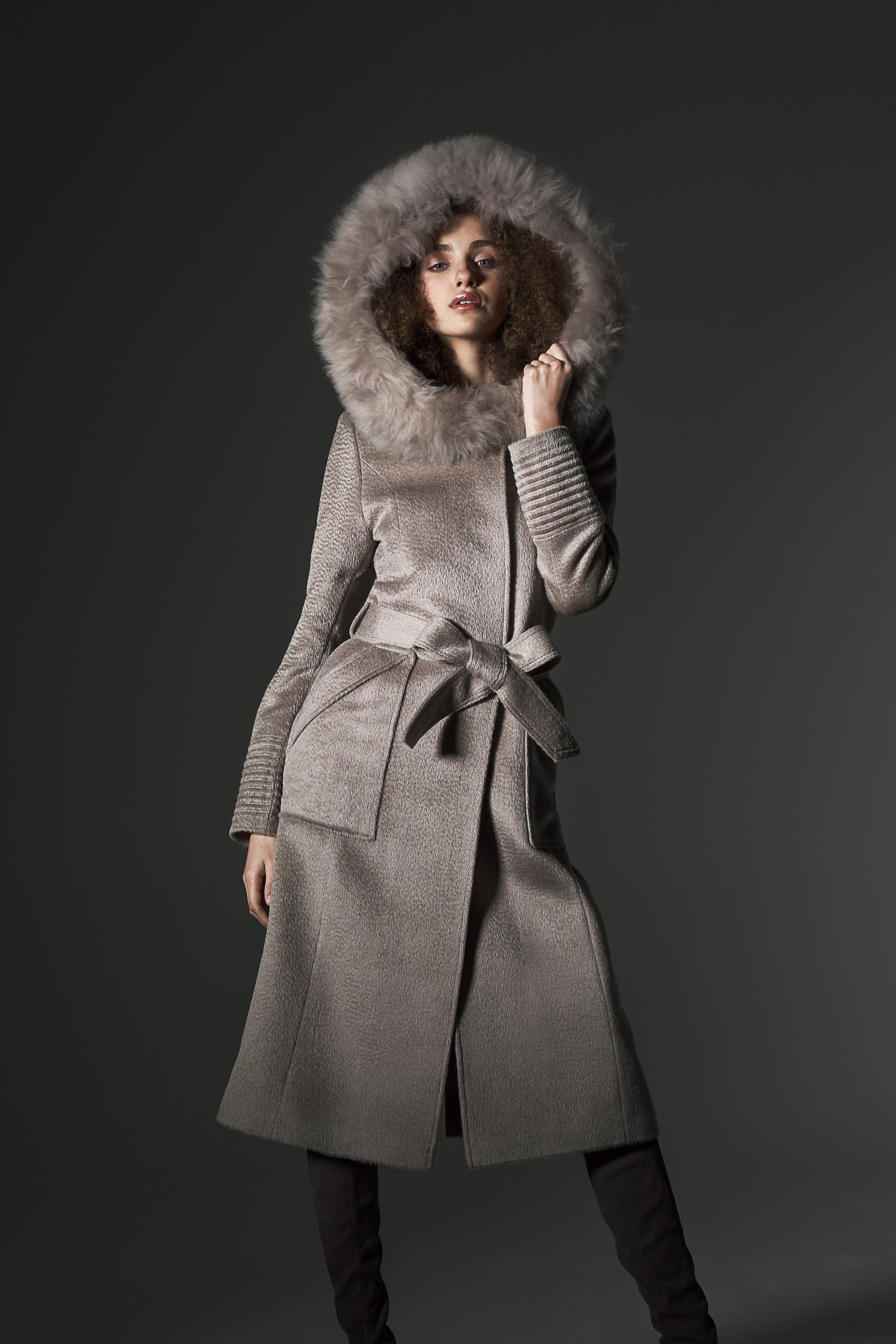 Long Coat with Fur Hood and Square Pockets Light Taupe