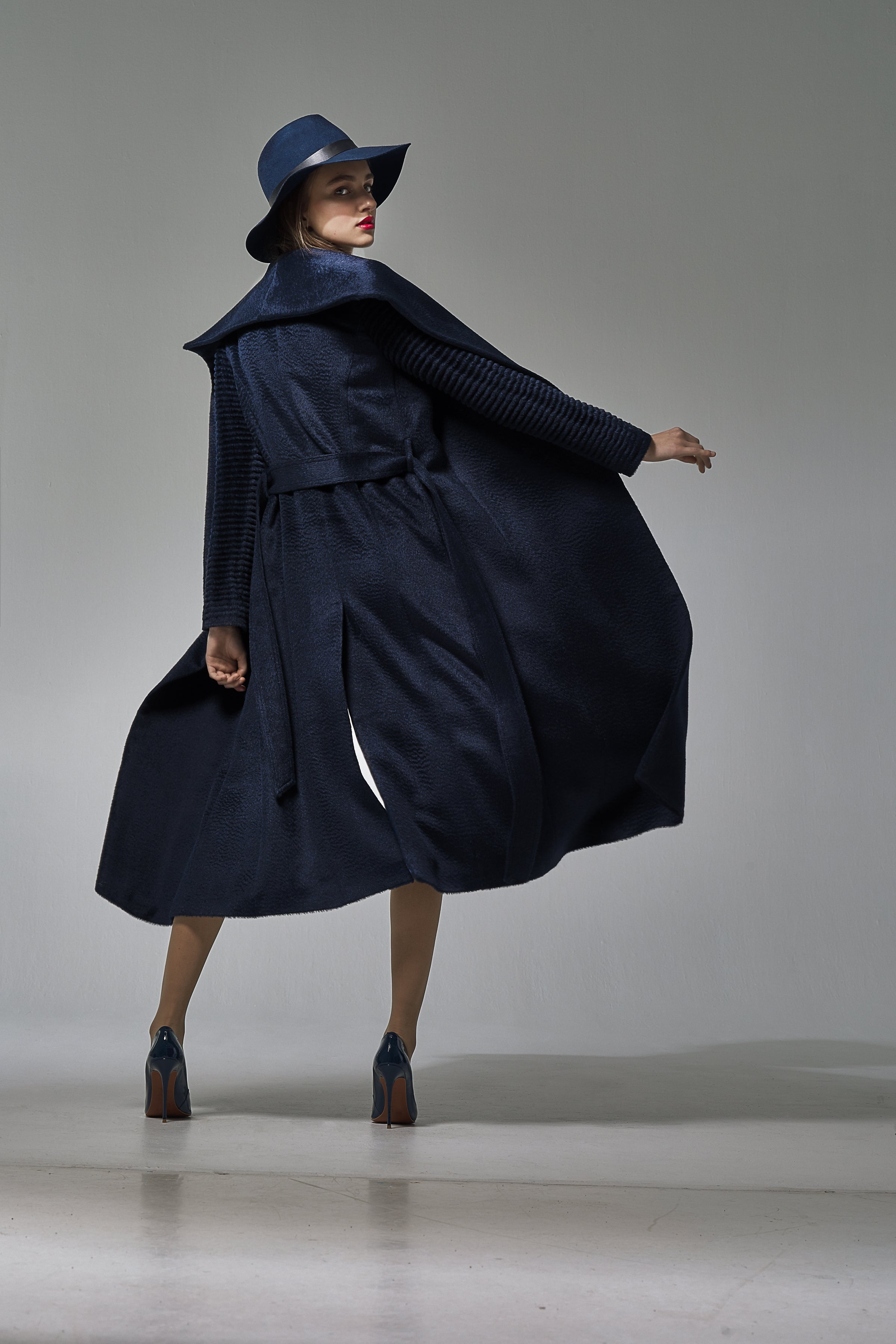 Long Shawl Collar Wrap Coat with Ribbed Sleeves Navy