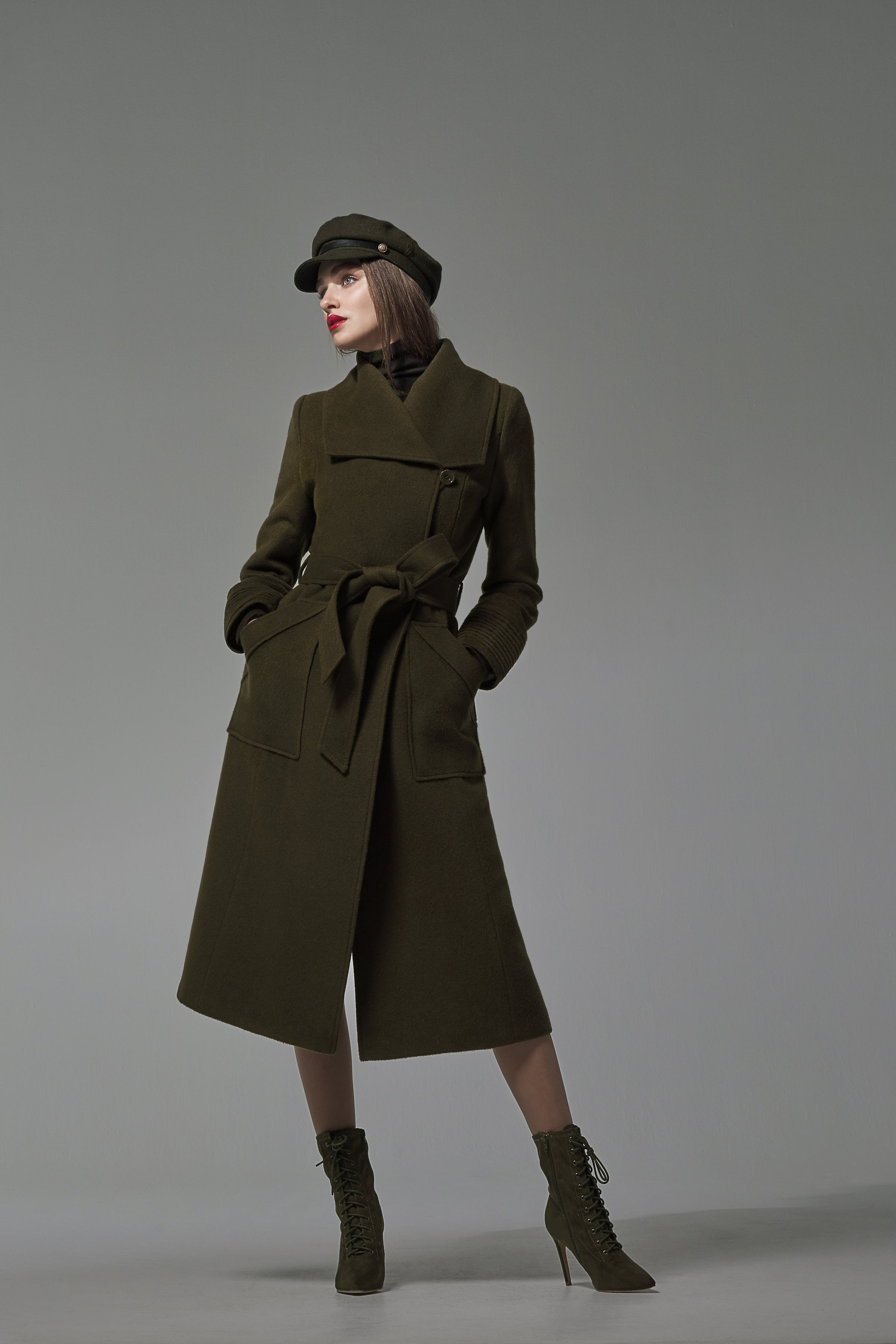 Long Wide Collar Wrap Coat Army Green